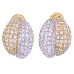 Pair of Split Bombe Diamond Gold Ear Clips