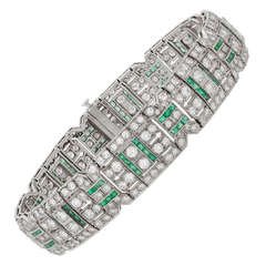 Art Deco Emerald Diamond Platinum Bracelet