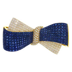 Sapphire Diamond Gold Bow Brooch