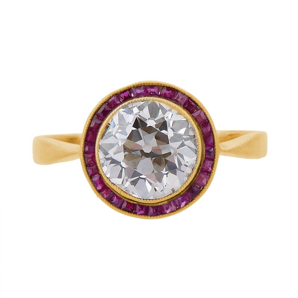 Belle Époque Ruby Diamond Gold Engagement Ring 2
