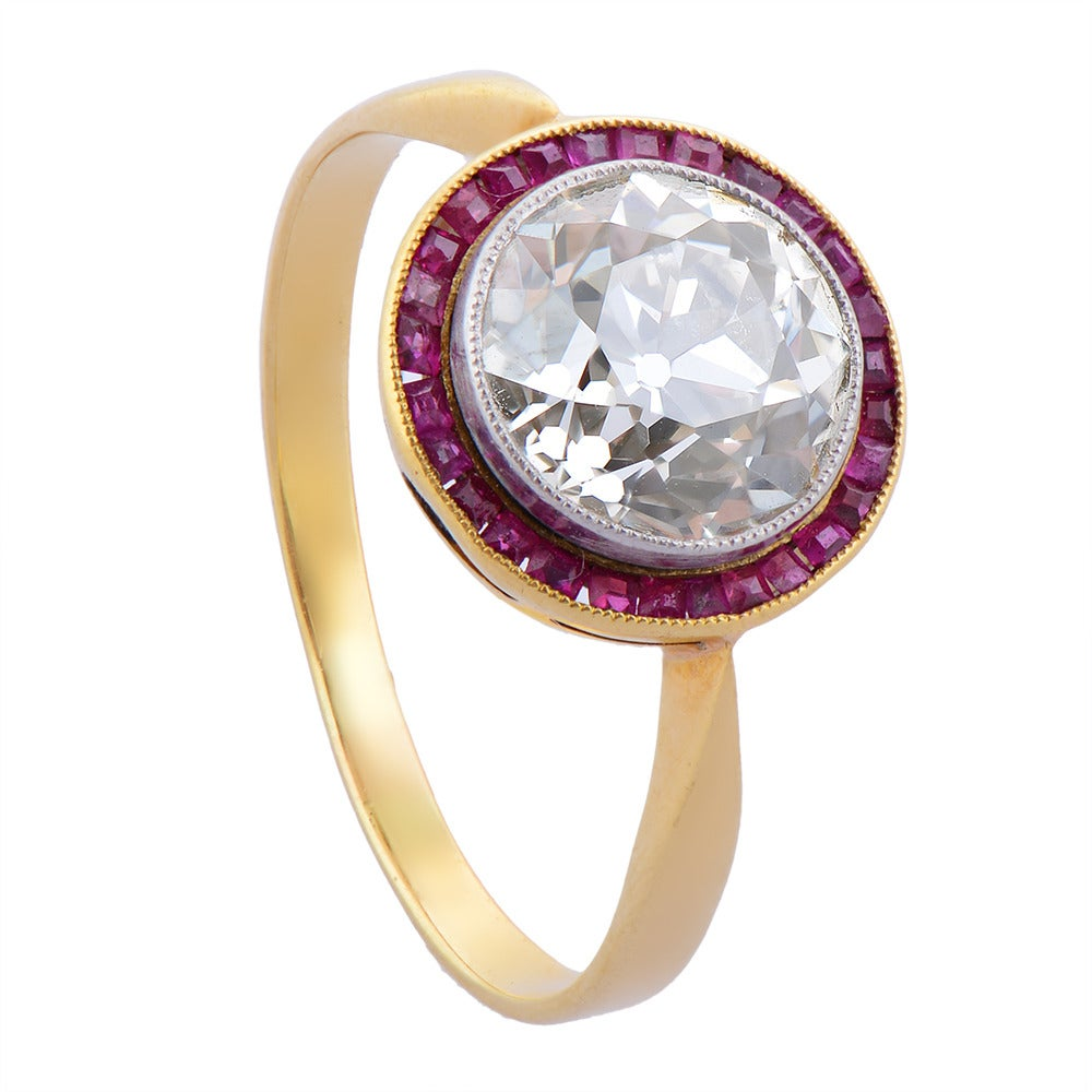 Belle Époque Ruby Diamond Gold Engagement Ring 3