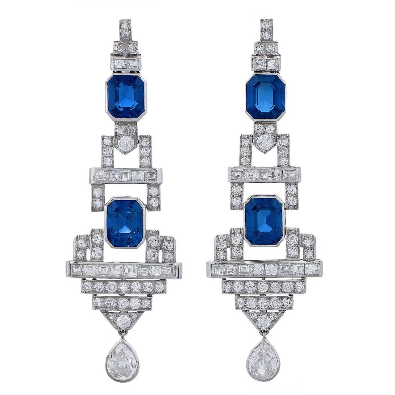 Pair of Art Deco Sapphire and Diamond Ear Pendants