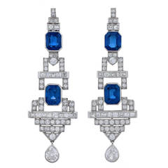 Pair of Art Deco Sapphire and Diamond Ear Pendants