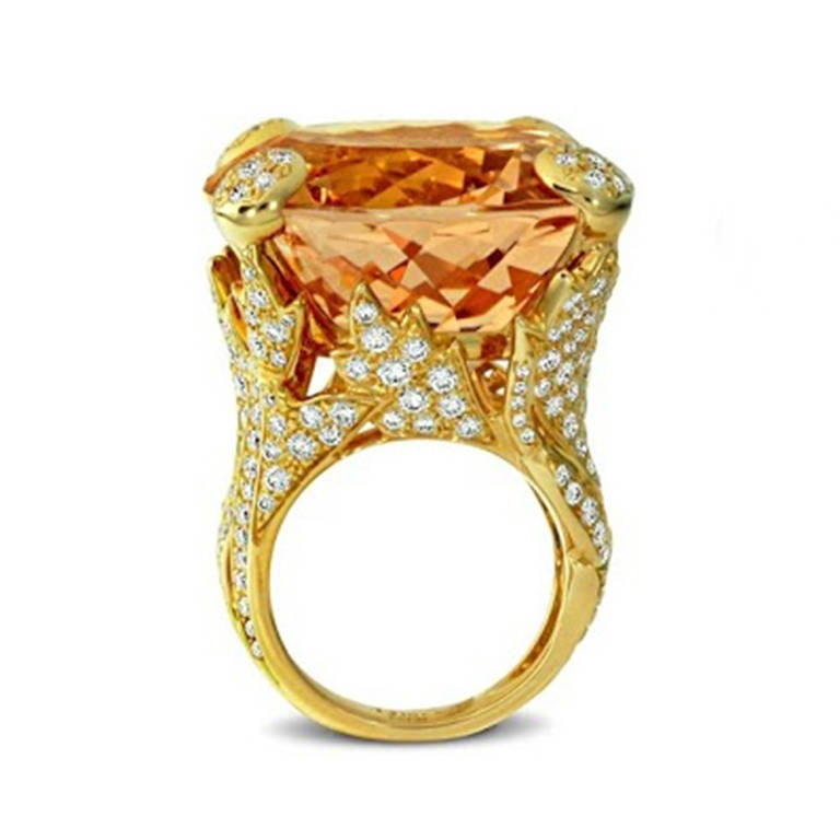 Dior Morganite Diamond Gold Cocktail Ring For Sale at 1stdibs