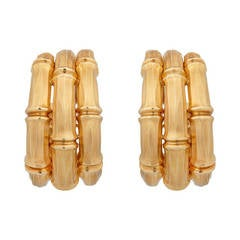 Cartier a Fine Pair of Yellow Gold Hoop Ear Clips