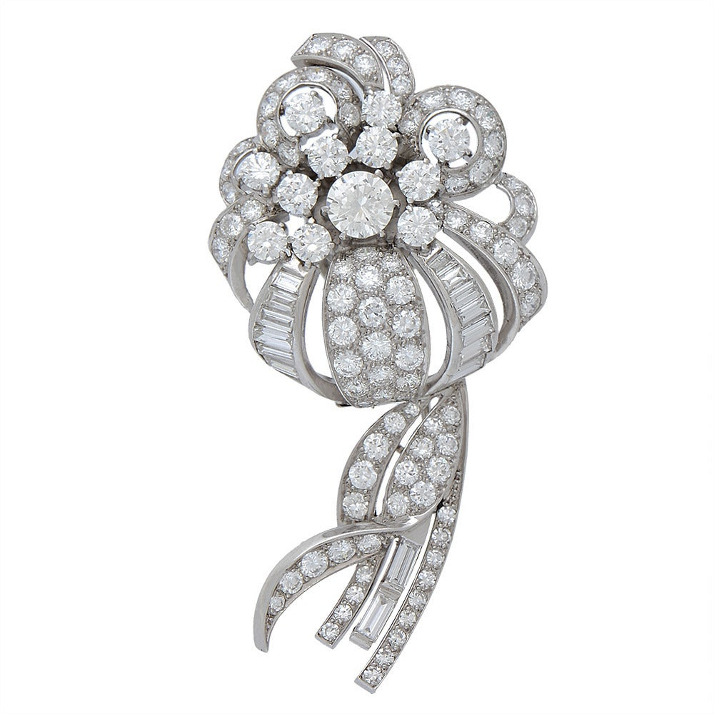 Diamond Platinum Flower Bouquet Brooch For Sale At 1stdibs