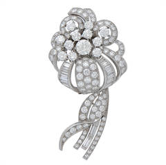 Diamond Platinum Flower Bouquet Brooch