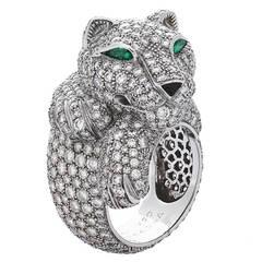 Cartier Onyx Emerald Diamond Gold Panthère De Cartier Ring