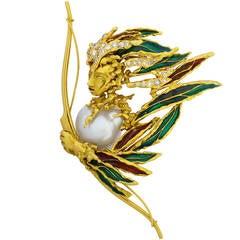 Sterle Enamel Pearl Diamond Gold Archer Brooch