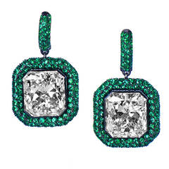 5.39 and 5.23 Carat Emerald Cut Diamond Emerald Pave Gold Drop Earrings