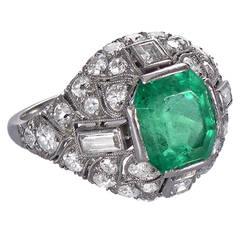 1920 French Art Deco Emerald Diamond Platinum Cocktail Ring