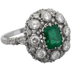 1970 Buccellati Emerald Diamond Cluster Ring