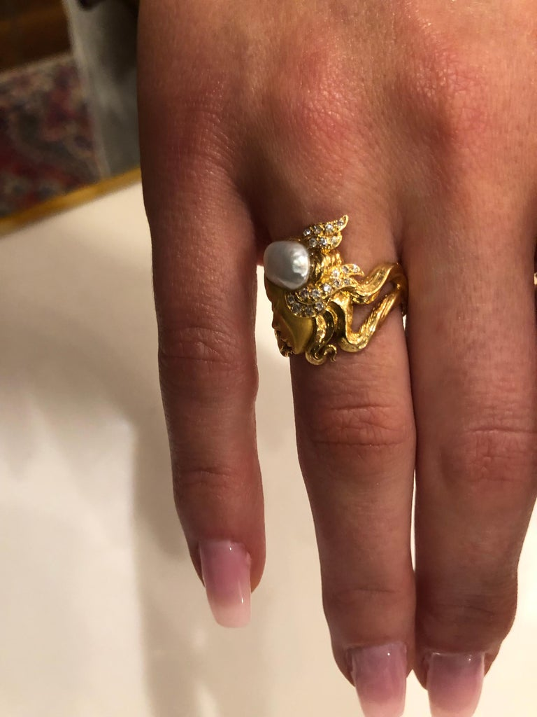 Carrera y Carrera Pearl and Diamond Maiden or Face of Woman Ring For Sale 4