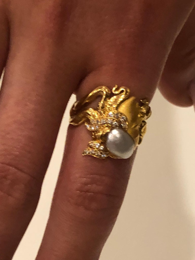 Carrera y Carrera Pearl and Diamond Maiden or Face of Woman Ring For Sale 3
