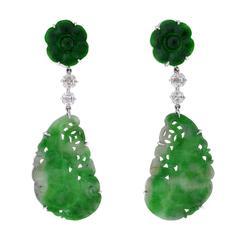 Jade Pearl Diamond Gold Clip Earrings