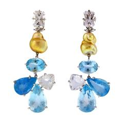 Aquamarine Danburite South Sea Golden Pearl Clip Earrings