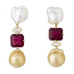 South Sea White Keshi Pearl Rubelite Diamond Golden Pearl Clip Earrings