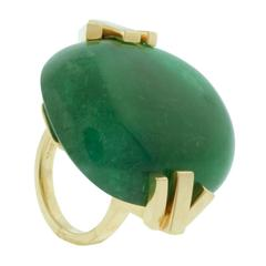 Gemmy Large Emerald and 18 Karat Gold Ring