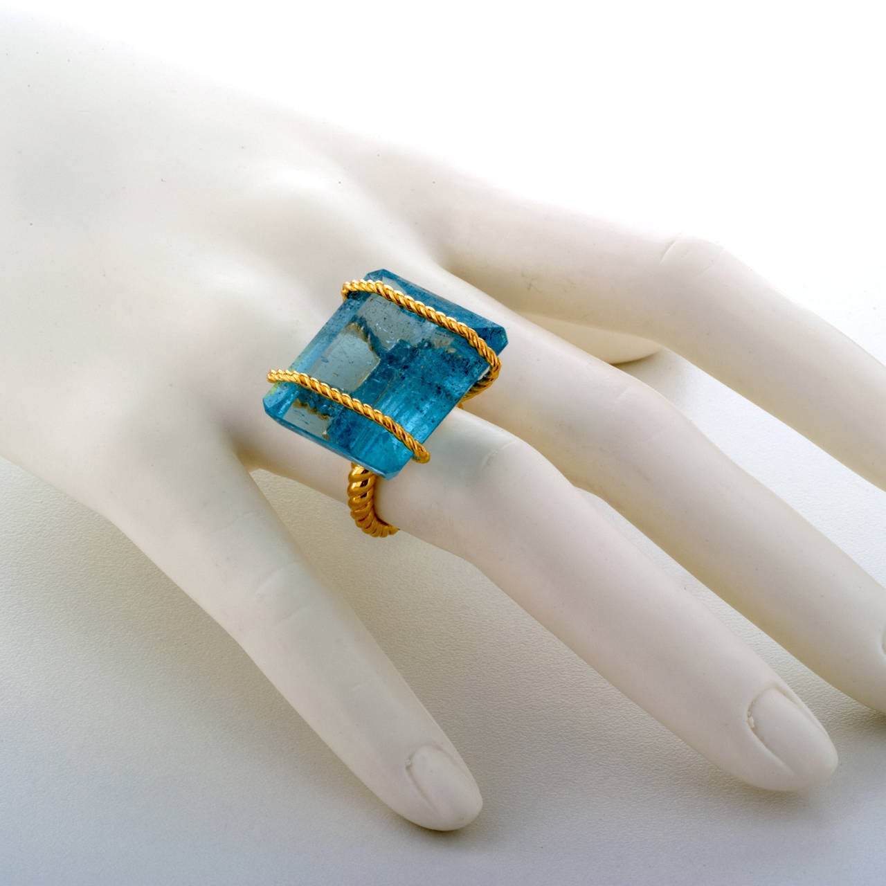 Large Aquamarine Gold Rope Banded Cocktail Ring 3