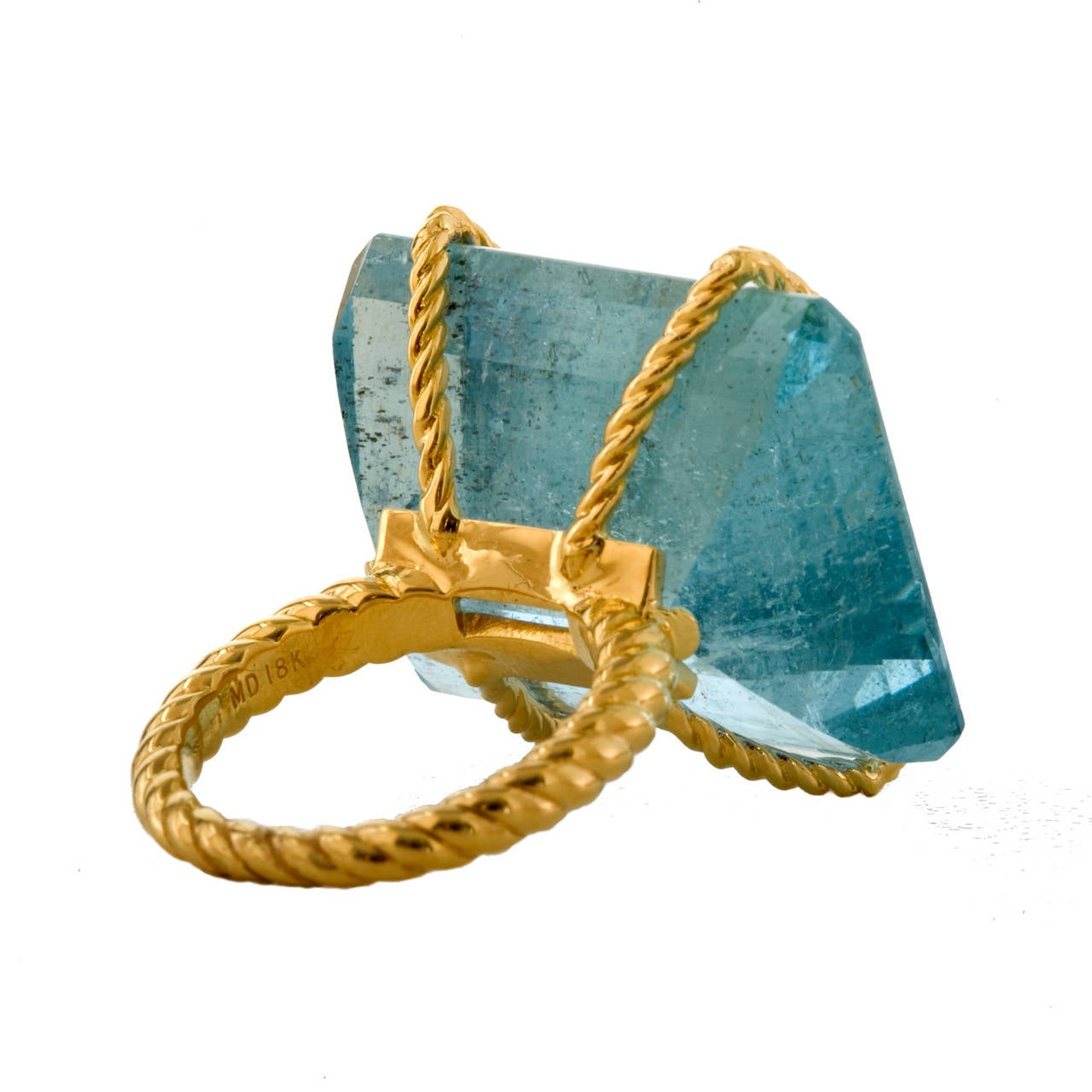 Large Aquamarine Gold Rope Banded Cocktail Ring 2