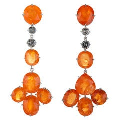 Mandarin Garnet Diamond Gold Clip Earrings