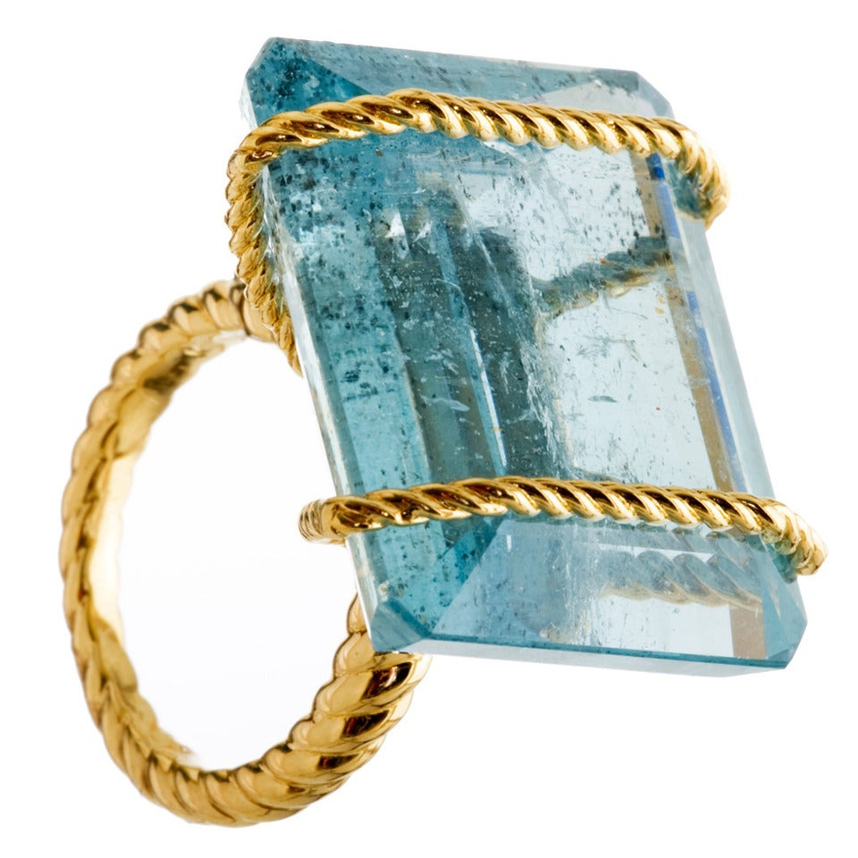 Large Aquamarine Gold Rope Banded Cocktail Ring 1