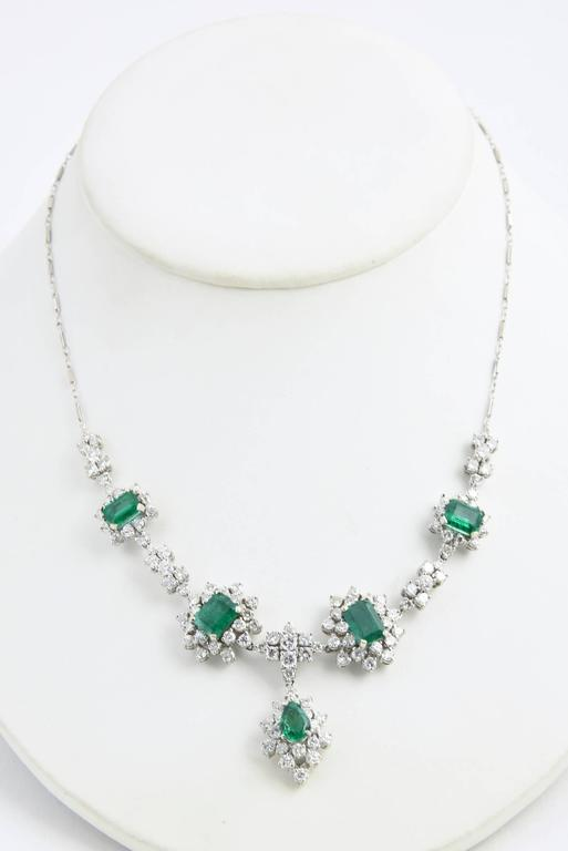 Women's 1950s Zambian Emerald, Diamond and Gold Necklace, Red Carpet Style For Sale