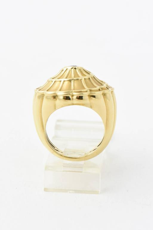 18K yellow gold Carrera y Carrera Afrodita Flower cocktail ring with bezel set round brilliant diamond at center. US size ? Marked 750 and with Carrera y Carrera hallmark Retail is $5,735