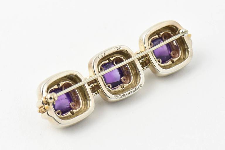 Tiffany & Co. Triple Sugarloaf Amethyst Sterling Gold Brooch  For Sale 2