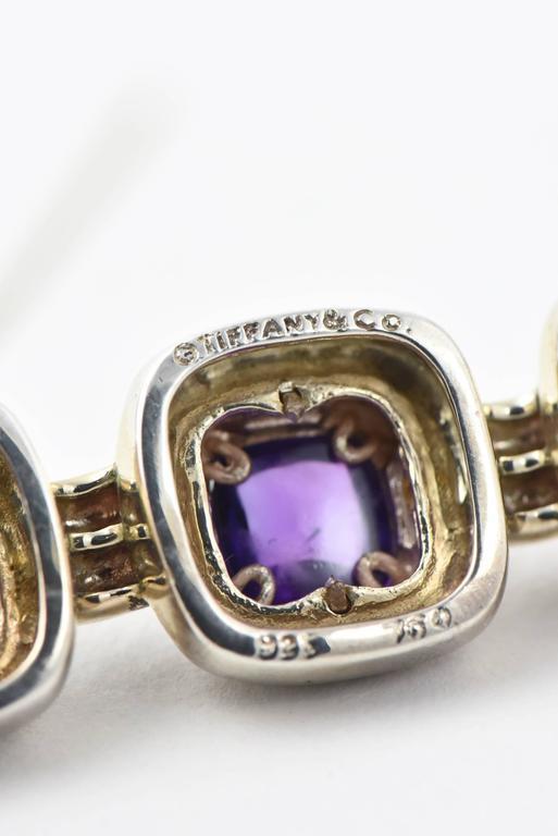 Tiffany & Co. Triple Sugarloaf Amethyst Sterling Gold Brooch  For Sale 4