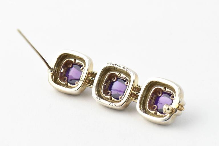 Tiffany & Co. Triple Sugarloaf Amethyst Sterling Gold Brooch  For Sale 3