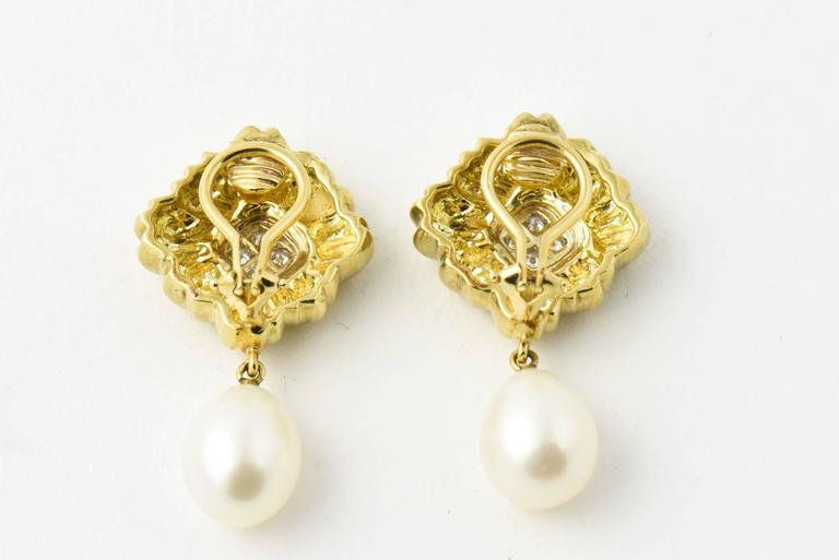 Stylized Diamond Gold Flower Earrings with Pearl Drops For Sale 1