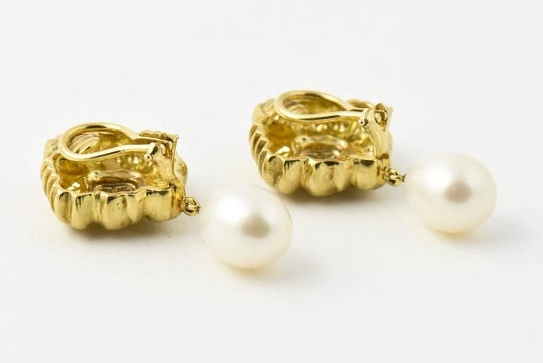 Stylized Diamond Gold Flower Earrings with Pearl Drops 6