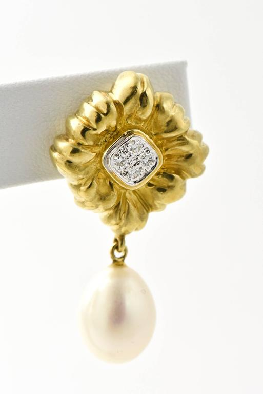 Stylized Diamond Gold Flower Earrings with Pearl Drops For Sale 3