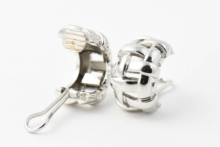Tiffany & Co. White Gold Basket Weave Clip Earrings 8