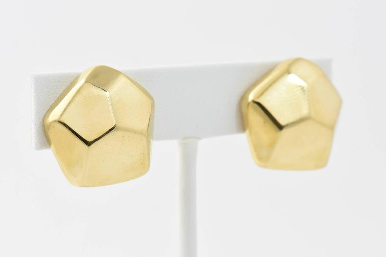 Geometric Three Dimensional Pentagon Gold Earrings 2