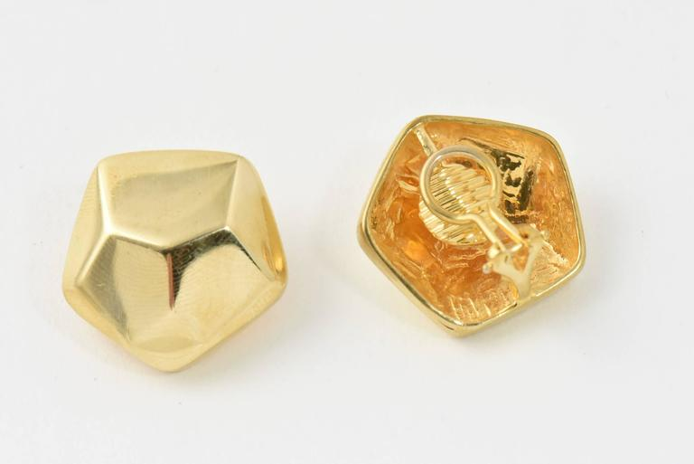 Geometric Three Dimensional Pentagon Gold Earrings 6