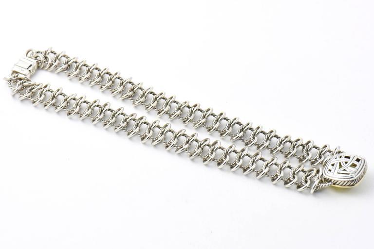 David Yurman Prasiolite Quartz Sterling Gold Woven Cable Link Necklace 3