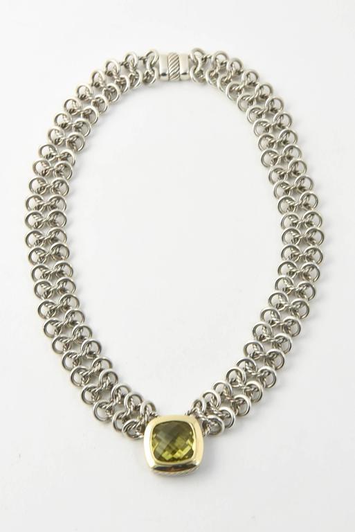David Yurman Prasiolite Quartz Sterling Gold Woven Cable Link Necklace 6