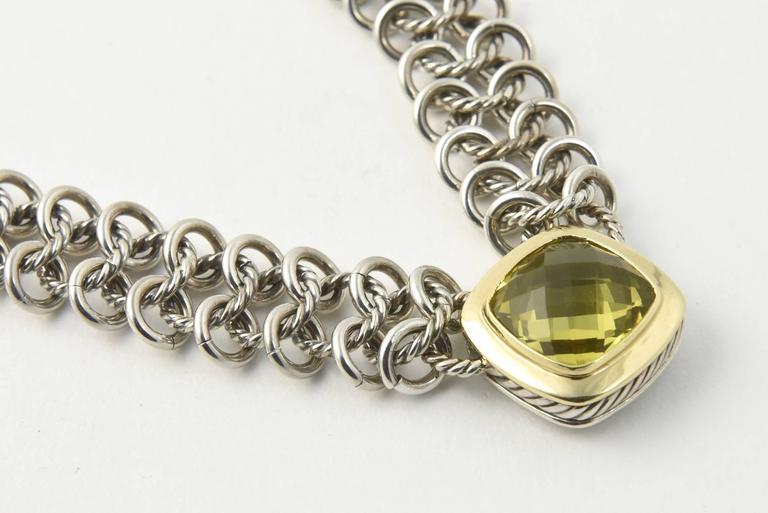 David Yurman Prasiolite Quartz Sterling Gold Woven Cable Link Necklace 5