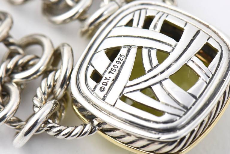 David Yurman Prasiolite Quartz Sterling Gold Woven Cable Link Necklace 7