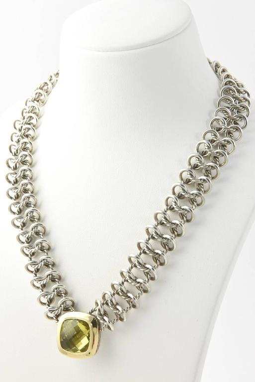 David Yurman Prasiolite Quartz Sterling Gold Woven Cable Link Necklace 9
