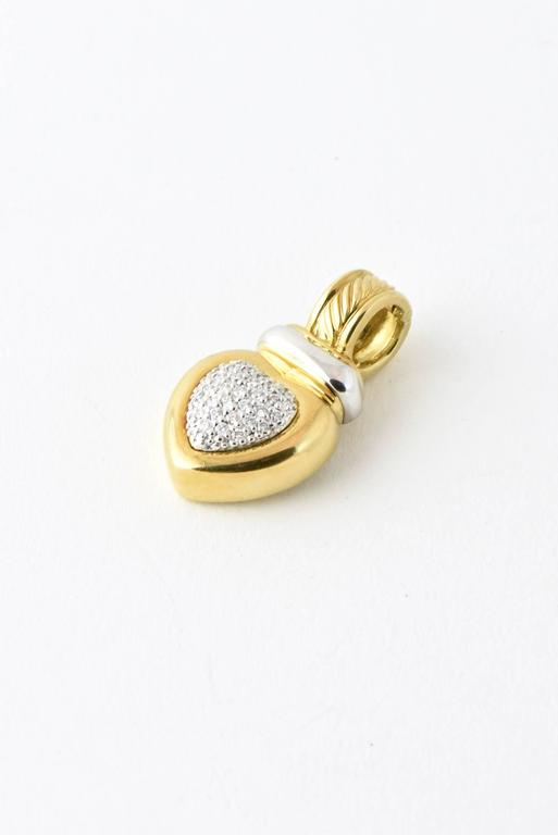 18K yellow & white gold David Yurman heart enhancer featuring 0.30 carats of round brilliant diamonds with hinged clip closures.