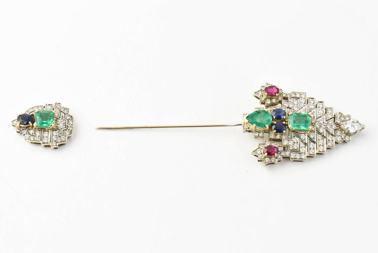 Art Deco Emerald Ruby Sapphire Diamond Gold Jabot Pin Brooch For Sale
