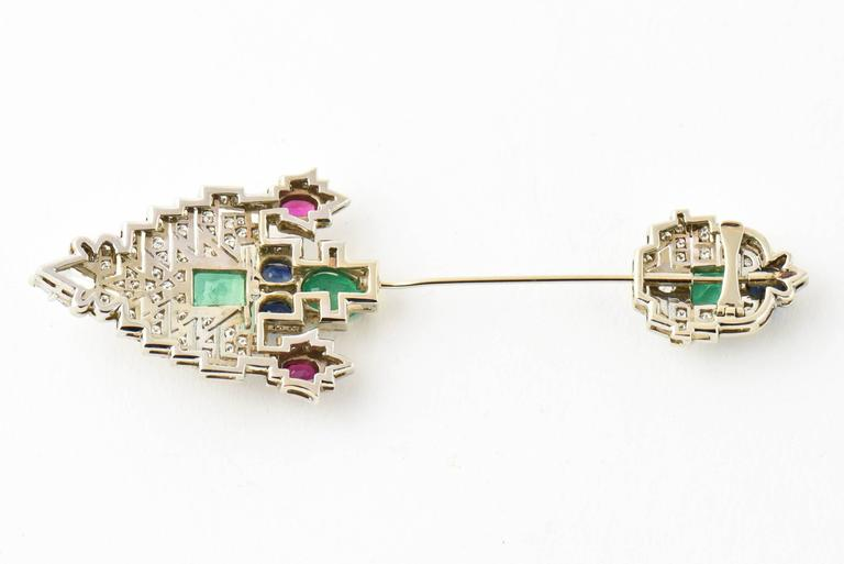 Women's or Men's Emerald Ruby Sapphire Diamond Gold Jabot Pin Brooch For Sale