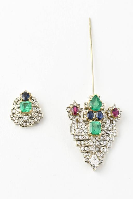 Emerald Ruby Sapphire Diamond Gold Jabot Pin Brooch For Sale 1