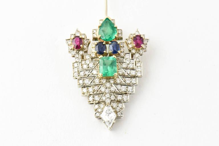 Emerald Ruby Sapphire Diamond Gold Jabot Pin Brooch For Sale 3