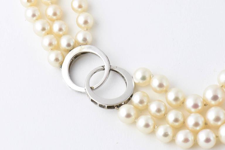 Adjustable Triple Stand Cultured Pearl Diamond White Gold Necklace 7