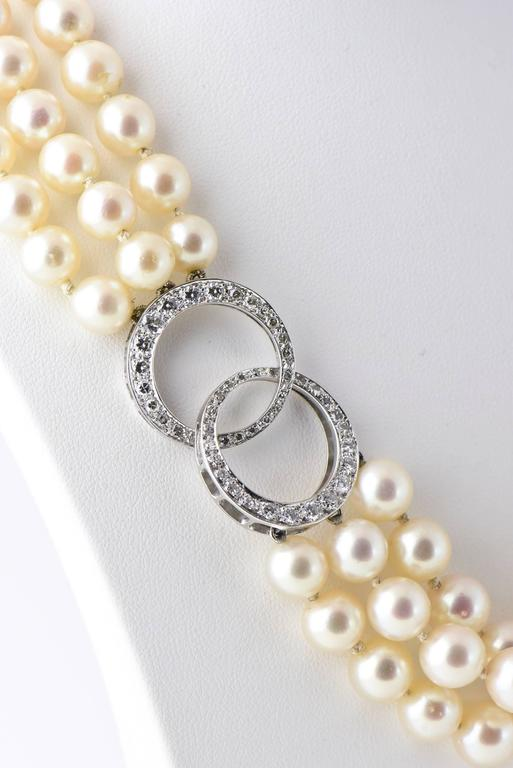 Adjustable Triple Stand Cultured Pearl Diamond White Gold Necklace 9