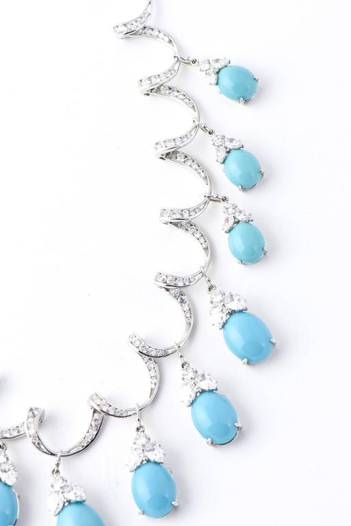 Red Carpet Glamorous Costume Diamond and Turquoise Garland Necklace 3